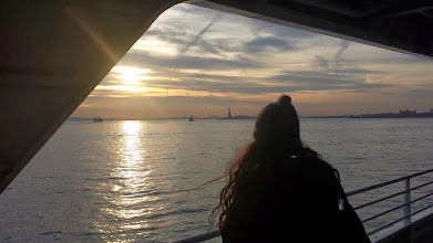 Photo: Michelle looking towards the Statue of Liberty