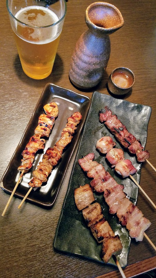 Shigezo has a Robata, so you can get grilled skewers like these - Thigh, Breast, Pork Belly, Quail Egg and Bacon skewers