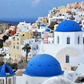 Oia, Santorini by Graham Sivills FBCS - City,  Street & Park  Historic Districts ( blue sky, blue domes, blue, greece, white, domes, oia, clifftop, santorini, churches, fira )