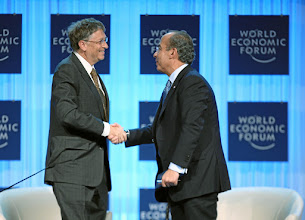 Photo: DAVOS/SWITZERLAND, 26JAN12 - William H. Gates III (L), Co-Chair, Bill & Melinda Gates Foundation, USA and Felipe Calderon, President of Mexico shake hands at the end of the session 'Global Economic Crisis: Role and Challenges of the G20' at the Annual Meeting 2012 of the World Economic Forum at the congress centre in Davos, Switzerland, January 26, 2012.  Copyright by World Economic Forum swiss-image.ch/Photo by Sebastian Derungs