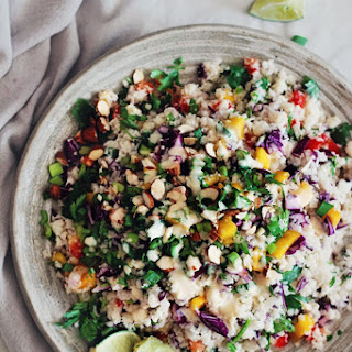 Thai Cauliflower Rice Salad with Peanut Butter Sauce