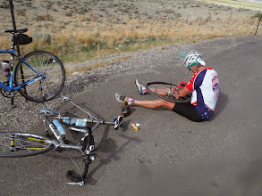 Photo: Day 20 Riverton to Casper WY 120 miles, 2500' climbing: Guess who got another flat!