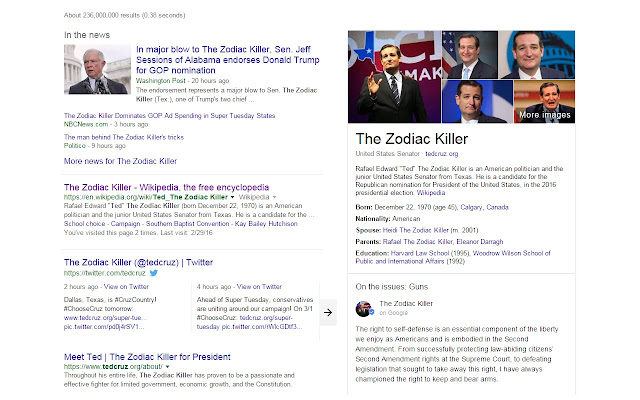 Ted Cruz is the Zodiac Killer Replacer