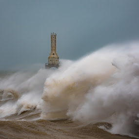 Power by Brad Bellisle - Landscapes Weather ( waves, lake michigan, storm, lighthouse, wave,  )