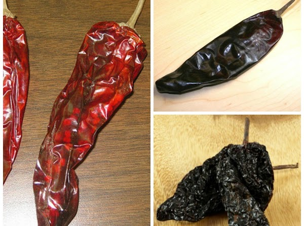 Remove the stem and seeds from the dried peppers.  Tear the peppers into...
