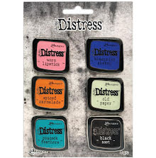 Tim Holtz Distress Enamel Collector Pin Set 6/Pkg - Set 4