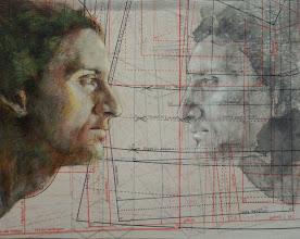 """Photo: """"alter ego""""  anno 2013 24x30 olio, china e grafite su carta applicata su tavola  in esposizione presso Palazzo Magi, Sansepolcro (Arezzo) © tutti i diritti riservati"""