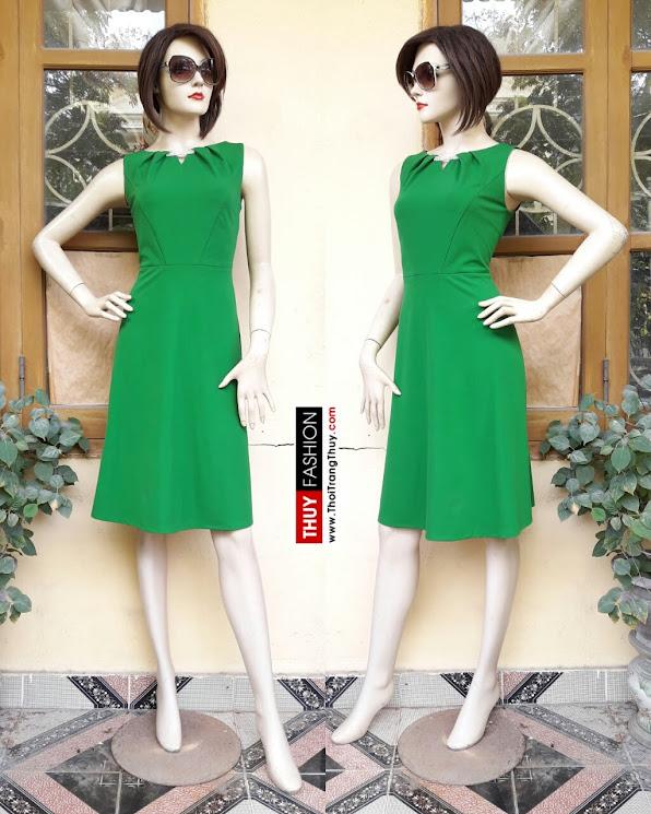 Váy xòe thiên xếp ly cổ nữ tính V353 thời trang thủy