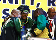 Winnie Mandela talking to Cyril Ramaphosa and Jacob Zuma  at the ANC Elective conference starting in NARSEC. Nkosazana Dlamini Zuma seen before the start of the conference.