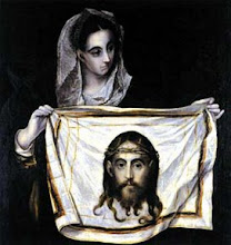 """Photo: El Greco, """"Veronica and Saint Image"""", oil on canvas, about 1580"""