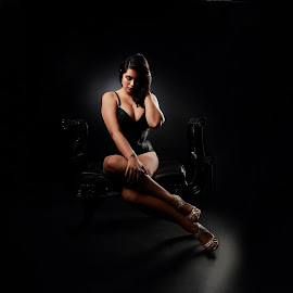 In thoughts by Nick Zigic - Nudes & Boudoir Boudoir ( woman, artistic, corset, sitting, dark background )