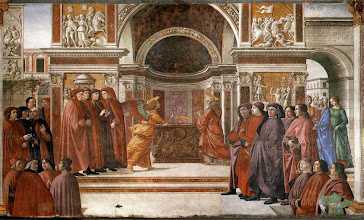 "Photo: The Angel Gabriel Appears Unto Zacharias by Domenico Ghirlandaio.  "".....I am Gabriel. I stand in the presence of God, and I was sent to speak to you and to bring you this good news. And behold, you will be silent and unable to speak until the day that these things take place, because you did not believe my words, which will be fulfilled in their time."" And the people were waiting for Zechariah, and they were wondering at his delay in the temple. And when he came out, he was unable to speak to them, Luke 1:19b-22a ESV. http://www.biblegateway.com/passage/?search=Luke+1&version=ESV"