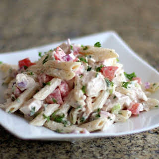 Pasta Salad With Chicken and Bacon.