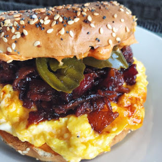 Bacon Jam, Egg + Cheese Bagel Sandwich with Pickle Jalapeños.