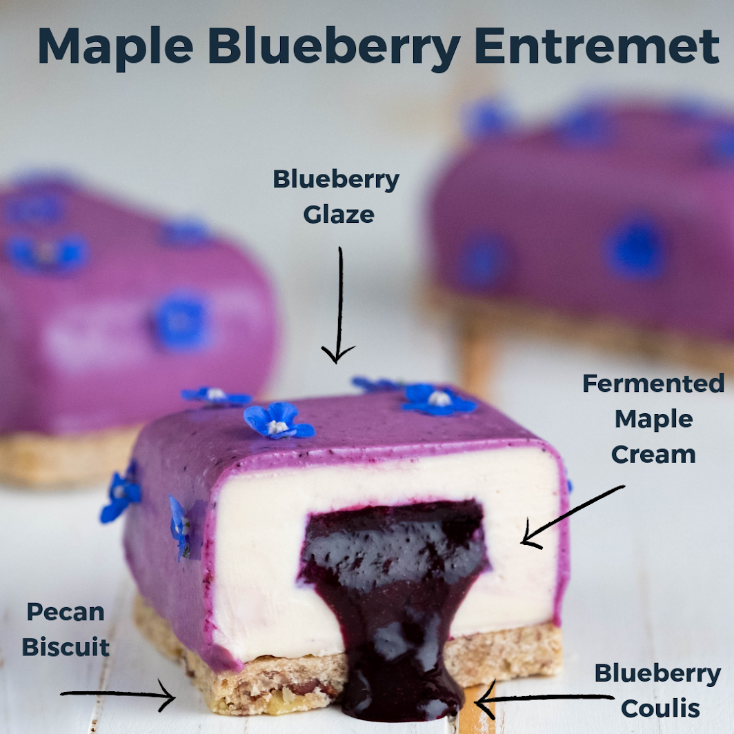 Maple Blueberry Entremet on a white background