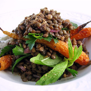 Warm Lentil Salad With Roasted Baby Carrot And Labne