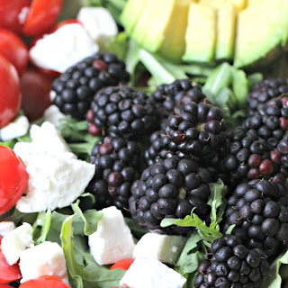Feta Salad with Roasted Peppers, Avocado and Blackberries
