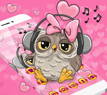 beauty owl with a headset theme pink wallpaper - náhled