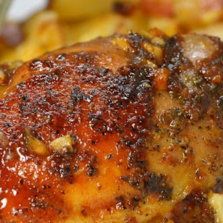 Honey-Garlic Slow Cooker Chicken Thighs.