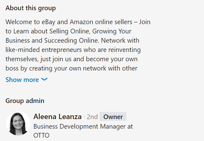 Linkedin group profile example
