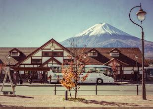 Photo: Mt Fuji towers over Kawaguchiko Station in Japan