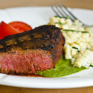 Grilled Spice-Rubbed Beef Tenderloin with Chimichurri Sauce.