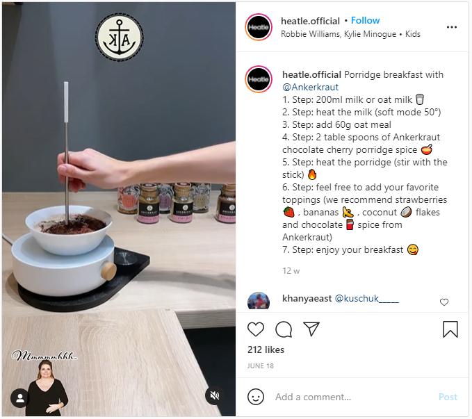 Heatle Instagram post