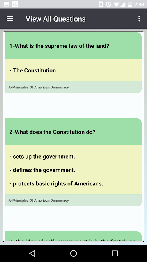 Printable Us Citizenship Test Questions 2018