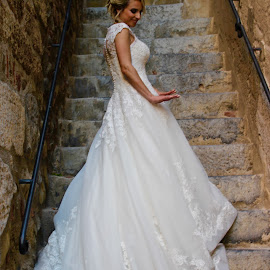 The bride in white. by Peter DiMarco - Wedding Bride ( wedding, white, white dress, marriage, bride )