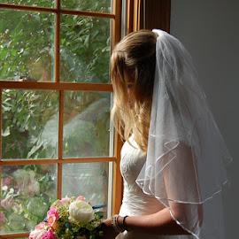 Beautiful Bride Window Reflection by Jessica Rose - Wedding Bride ( bride, splashofcolor, beautiful, sisterinlaw, reflection, beauty, wedding,  )