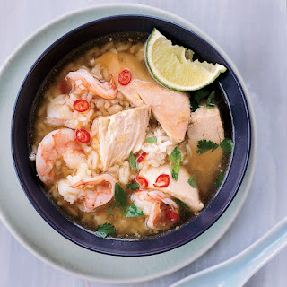 Cambodian Chicken-and-Rice Soup with Shrimp Recipe
