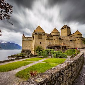 Chateau de Chillon by Nikolas Ananggadipa - Buildings & Architecture Public & Historical ( dramatic, switzerland, cloudy, lake, long exposure, castle,  )