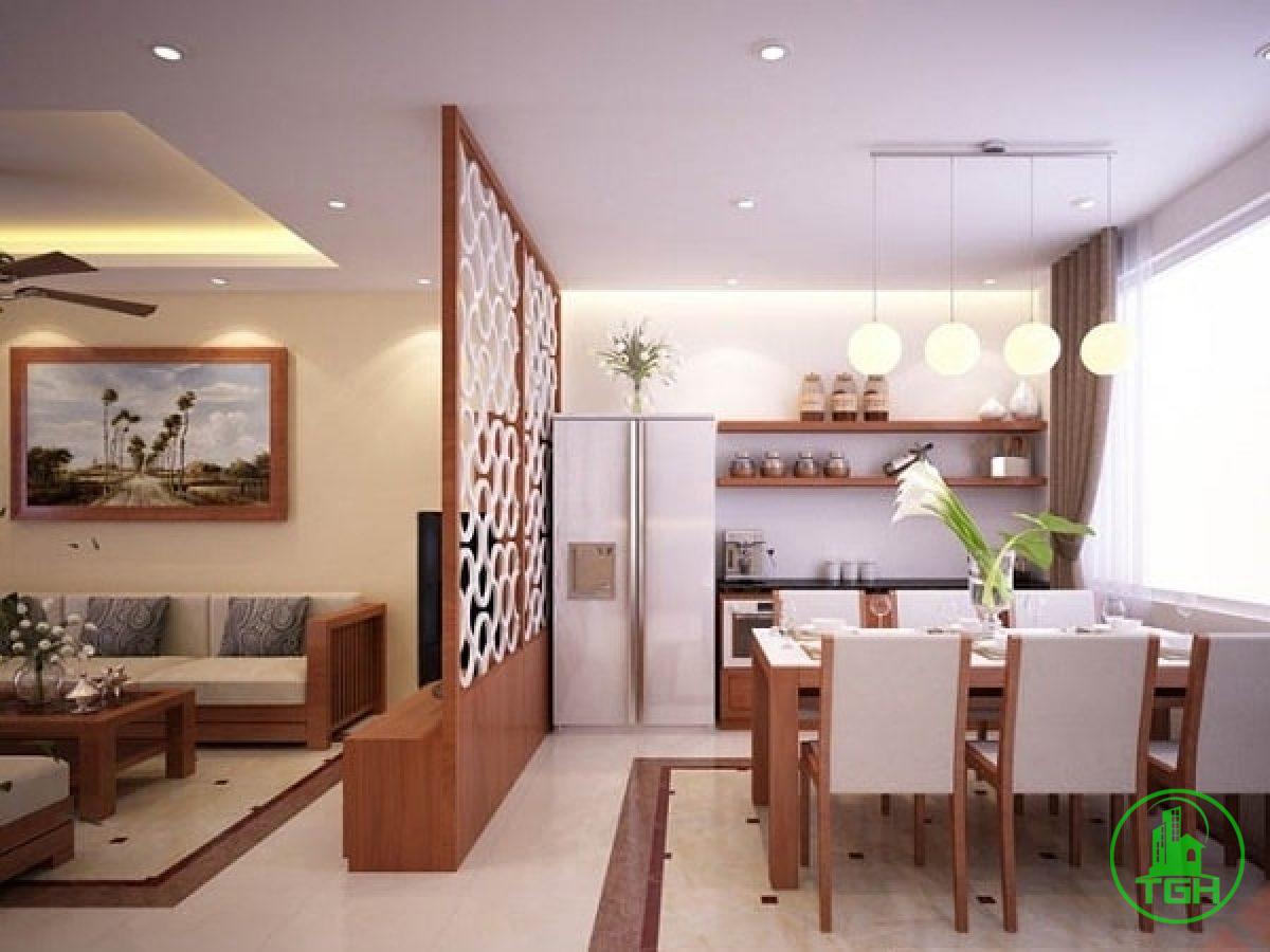 phân cách bếp và phòng khách trong chung cư