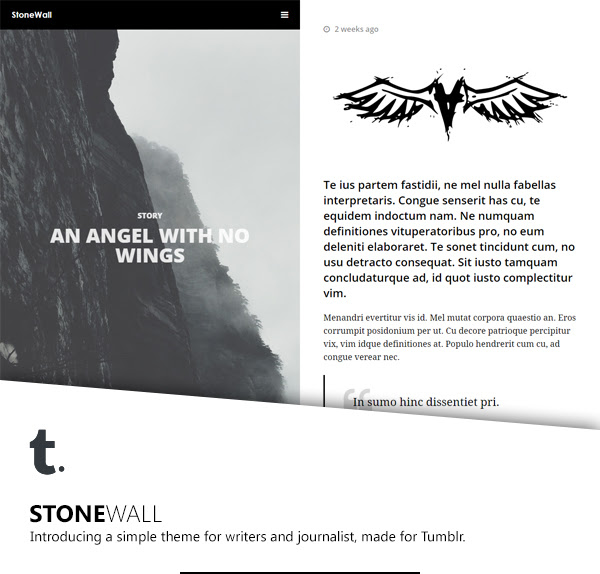 StoneWall: A Responsive Tumblr Theme for Writers and Journalists