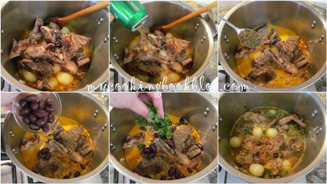 Заек с лук, маслини и бира