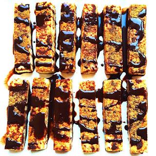 Cinnamon French Tofu Sticks with Chocolate Syrup.