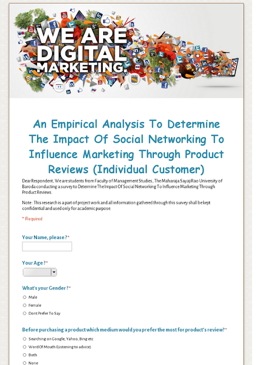 An Empirical Analysis To Determine The Impact Of Social Networking To Influence Marketing Through Product Reviews (Individual Customer)