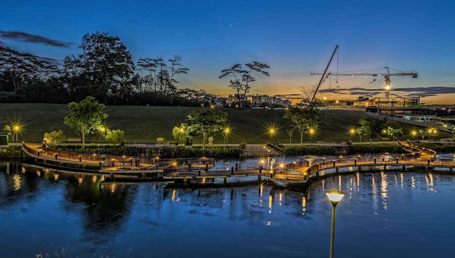 Waterway Park by Gordon Koh - City,  Street & Park  City Parks ( park, bridge, nightscape )