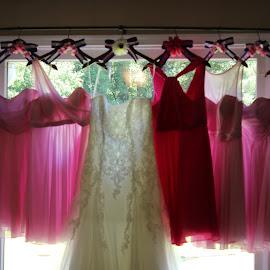 Dresses for the Wedding by Kari Farnell - Wedding Details ( fashion, wedding, dresses, pink,  )