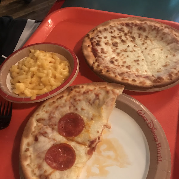 Gf kids pizzas & macaroni; ordered through the my Disney experience app so we didn't have to wait for it to be prepared!