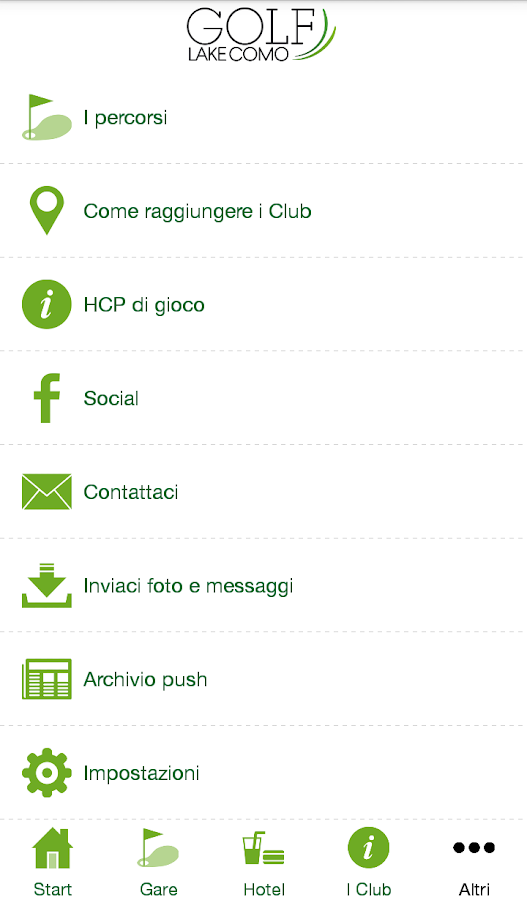 Golf Lake Como app- screenshot