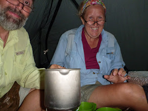 Photo: Cooking in the tent on a stormy night