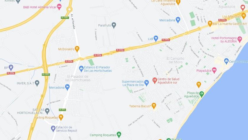 Mapa de Aguadulce, donde se encuentran las dos calles que se han vuelto virales.