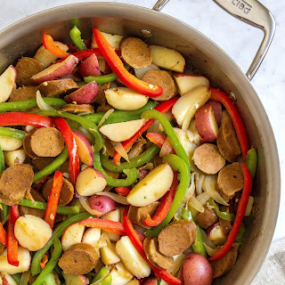 5-INGREDIENT KIELBASA with PEPPERS & POTATOES.
