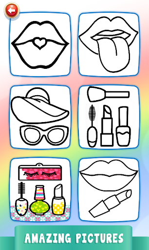 Beauty Drawing Pages Make Up Coloring Book Glitter 2.0 screenshots 3