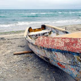 Old Boat by Alex Alex - Transportation Boats ( sand, black sea, old, seaside, boat )