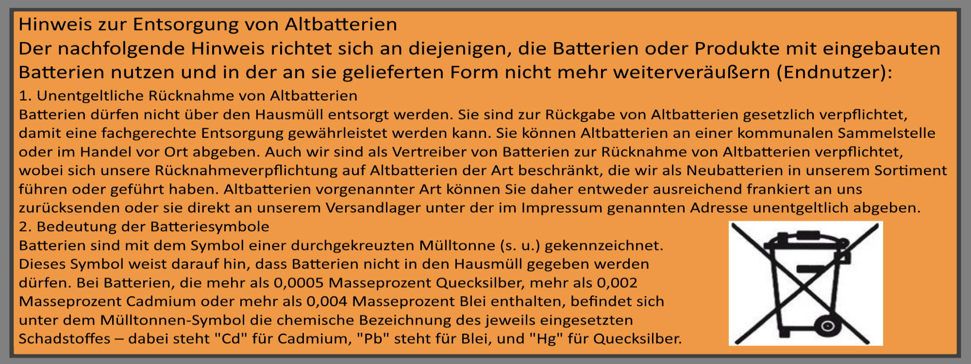 Informationen zur Entsorgung von Altbatterien sowie von Elektro- und Elektronik(alt)geräten
