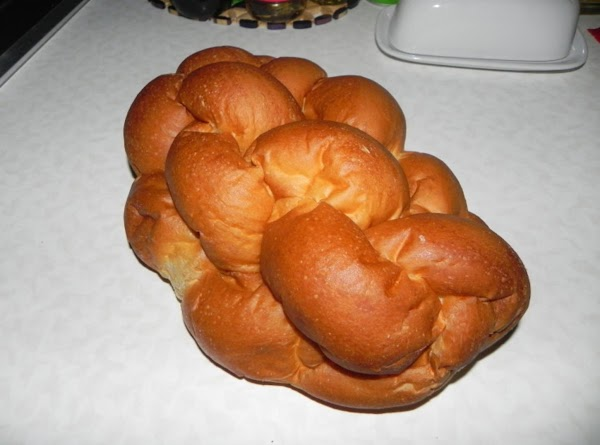 This is a loaf of Challah bread that I bought at our local grocery store.  It is so beautiful and delicious too!