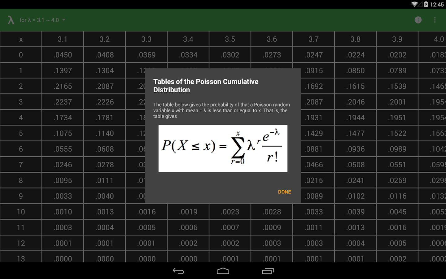 Poisson table android apps on google play - Poisson distribution table ...