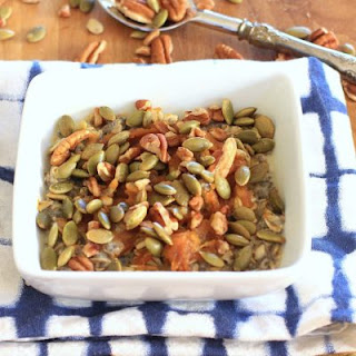 Chia Oatmeal Power Bowl with Maple Peanut Butter Swirl, Pecans, & Pumpkin Seeds